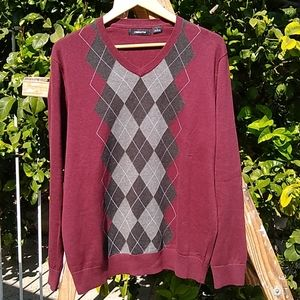Claiborne Men's Argyle V-Neck Pullover Sweater L